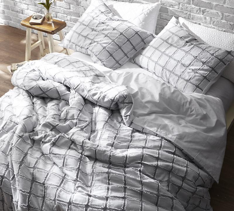 Frayed Edgings King Duvet Cover Oversized Xl White Gray