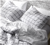 Frayed Edgings Standard Queen sized Shams - Softest White and Gray pillow shams sized Queen