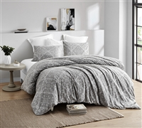 Oversized Unique Designer Twin XL Duvet Cover in Easy to Match Gray Printed Material and Soft Cotton for Twin or Twin XL Bed