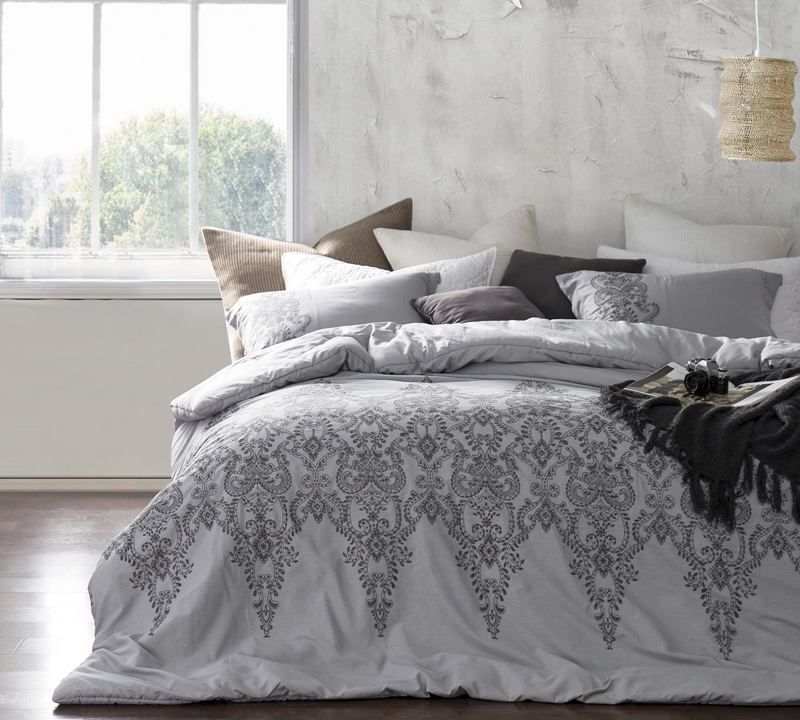 Extra Long King Size Comforter Sets Alloy And Pewter