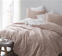 Baroque Stitch King Comforter Extra Wide in ice pink - Oversized King XL comforter Ice Pink and Fawn