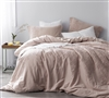 Oversized King Duvet Cover Ice Pink and Fawn Embroidery - Soft duvet cover