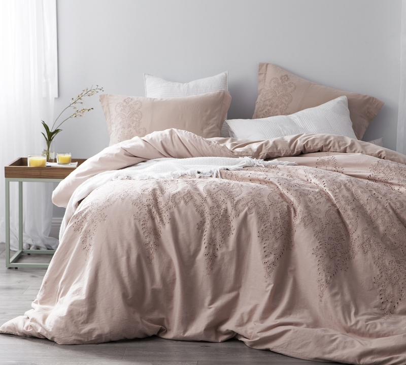 Amazing Baroque Stitch   King Duvet Cover   Oversized King XL   Ice Pink/Fawn  Embroidery
