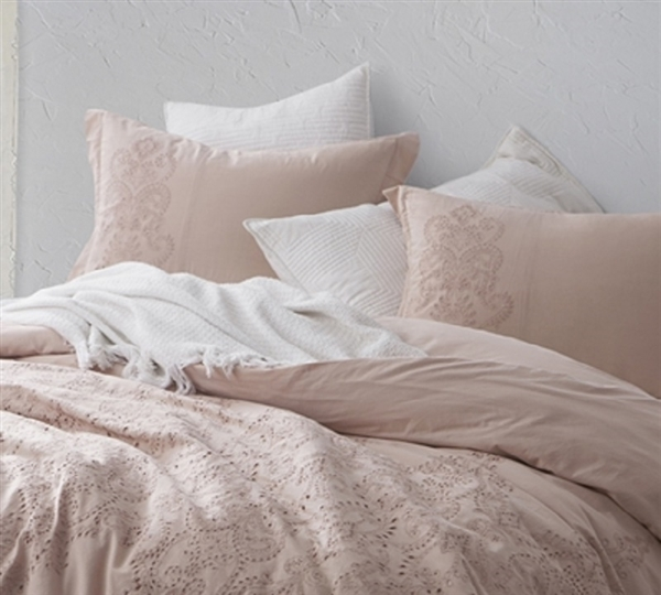 Styled King size bedding Shams Ice Pink and Fawn Embroidery Available
