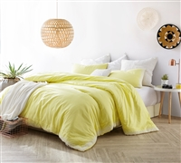 Oversized King Comforter in Stylish Bright Yellow with Unique White Detailing and Super Soft Cotton Material
