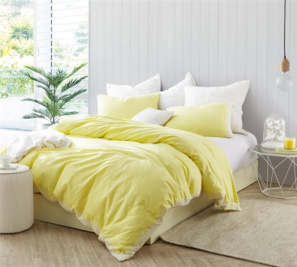 Stylish Bright Yellow and White Embroidered Twin XL Bedding made with Cozy Cotton for Twin or Twin XL Bed
