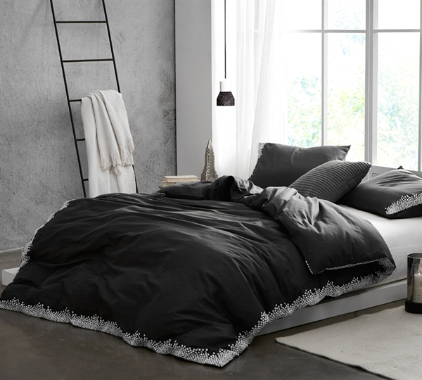 Oversized Queen XL Designer Black and White Reverse Embroidered Cotton Duvet Cover for Queen Bed