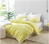 Endless Fields Embroidered King Duvet Cover - Oversized King XL - Limelight Yellow