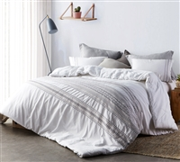 Oversized Stylish White Stitch Embroidered Twin XL Comforter to fit Twin or Twin XL Bed with Cozy Cotton Material
