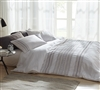 Cambria Stitch Embroidered King Duvet Cover - Oversized King XL - White