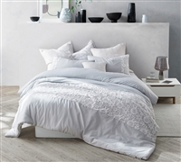 Light Glacier Gray and White King Extra Large Comforter with Beautiful Lace Details