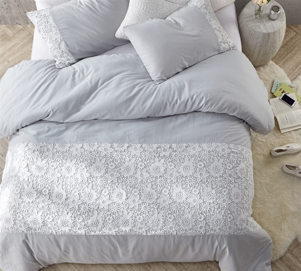 Decorative Queen XL Bedding Beautiful White Lace Queen Duvet Cover Easy to Match Glacier Gray
