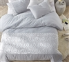 Softest Cotton Extra Large King Duvet Cover in Easy to Match Light Gray with Intricate White Lace Details