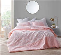 Pretty Rose Quartz King Oversize Comforter Stylish Pink King XL Bedding with Beautiful White Lace Detail