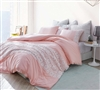 Beautiful Rose Pink Oversized Queen XL Duvet Cover with Stylish White Lace Details and Soft Cotton Material