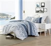 Unique Oversized Faded Blue and White Queen XL Duvet Cover Extra Large with Soft Cotton Material