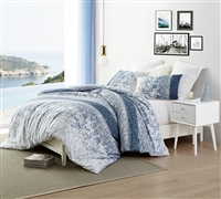 Oversized Twin XL Duvet Cover to Fit Twin or Twin XL Bed in Stylish Blue and White Design