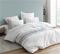 Extra Large King Comforter in Stylish White with Colorful Embroidered Details and Matching Shams