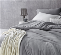 Best Comforter for Queen Sized Bed Unique Alloy Gray Bare Bottom Comfortable and Soft Queen Bedding