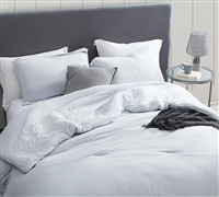 Best Oversized Duvet Cover for King XL Comforter Stylish Glacier Gray Bare Bottom Soft King Bedding