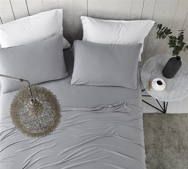 Coziest Microfiber Cal King Sheet Set Bare Bottom All Season Easy to Match Alloy Gray California King Sheets