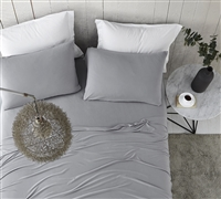 Neutral Gray Queen Sheets with Softest Plush Microfiber and Smooth Spandex Material