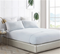 Light Glacier Gray Bare Bottom Microfiber All Season California King Sheet Set Luxurious Cal King Bedding Comfort