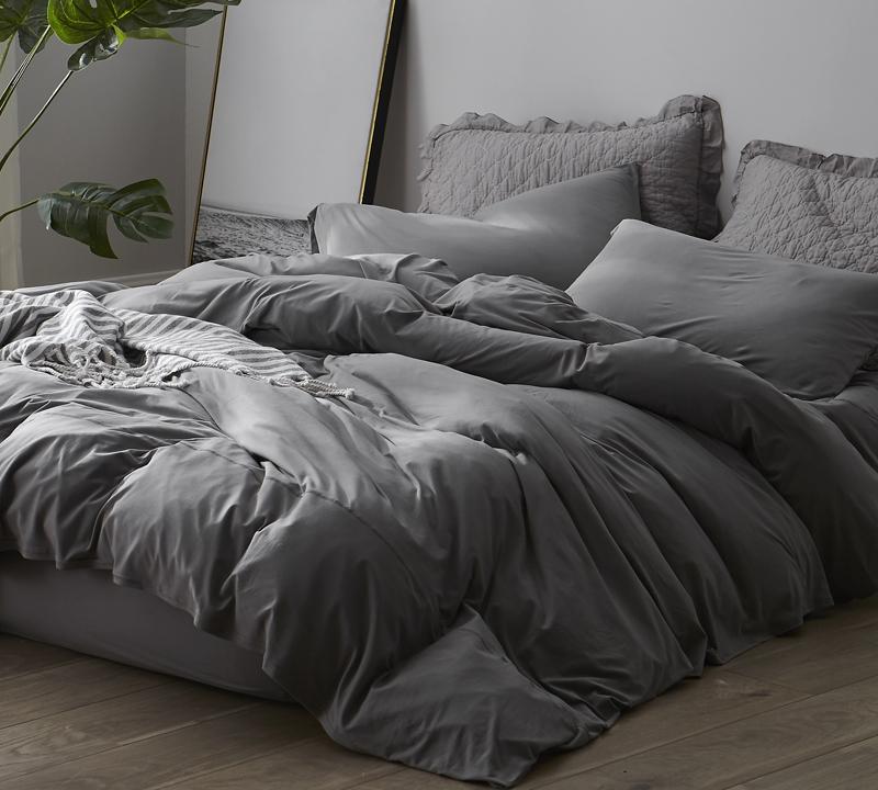 Bare Bottom Sheets Winter Warmth Queen Bedding Gray