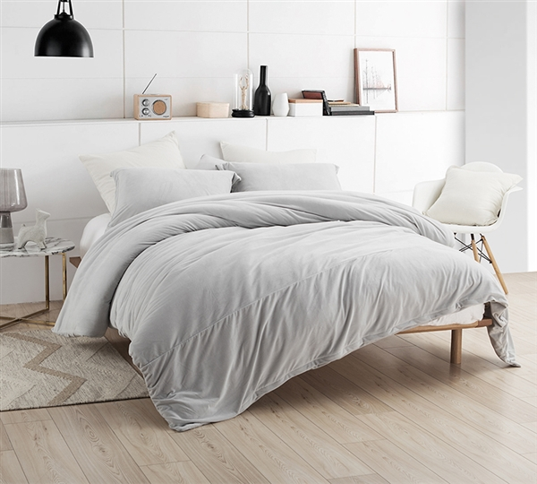 Stylish Gray Coma Inducer Twin Extra Long Duvet Cover Plush Glacier Gray Soft Twin XL Bedding