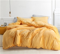 Unique Extra Large Twin, Queen, or King Comforter in Vibrant Yellow with Thick Plush Inner Fill