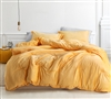 Oversized Queen Comforter in Vibrant Yellow made of Luxury Plush Material and Extended Queen Dimensions