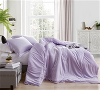 Oversized Queen Comforter Set in Stylish Orchid Purple Shade with Matching Shams in Luxury Plush Material