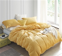 Stylish Yellow Mimosa Colored Extra Large Twin Duvet Cover with Matching Shams in Soft Luxury Plush