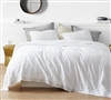 Oversized Portugal-Made Plush Cotton White Quilted Twin XL Comforter with Stylish Frayed Edge Detailing