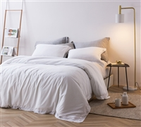 Super Soft Machine Washable Cotton with Frayed Edges in Stylish White Color Extra Large King Duvet Cover