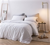 Fashionable White Extra Large Twin Duvet Cover with Comfy Cotton and Frayed Edge Details