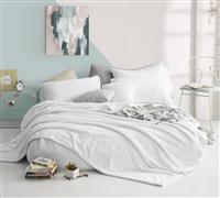 Machine Washable White XL Twin Sheets with Twin XL Fitted Sheet, Oversized Twin Flat Sheet, and Standard Size Pillowcase