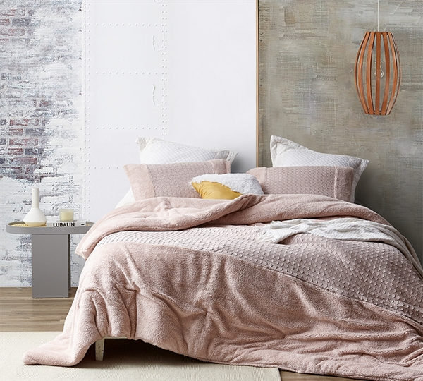 Cozy and Fashionable Pink Twin, Queen, or King Oversized Bedspread One-of-a-Kind Plush and Faux Leather Bedding