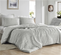 Silver Gray Queen Oversized Bedspread Extra Large Queen Soft Teddy Fleece Bedding with Textured Jacquard Top