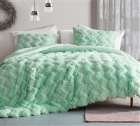 Chevron Birds of a Feather - Coma Inducer Oversized Comforter - Honeydew