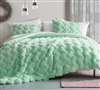 Luxury Plush Twin Extra Large Bedding with Green Faux Feather Material and Chevron Design