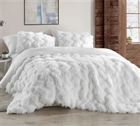 Stylish Chevron King Bedding Piece Faux Feather and Plush Comforter with Extended King Bedding Dimensions