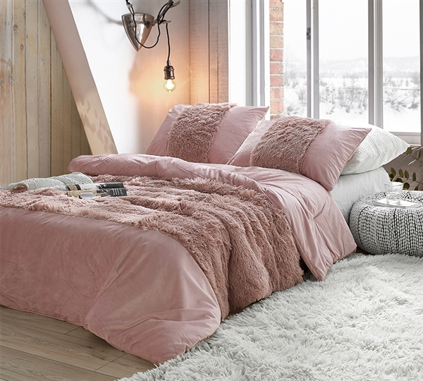 Blush Pink Twin, Queen, or King Extra Large Comforter with Short and Long Plush Bedding Materials
