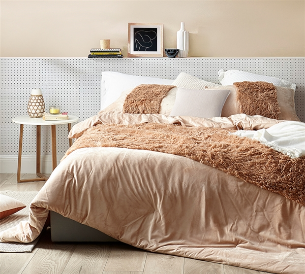 Neutral Twin, Queen, or King Extra Large Plush Comforter Are You Kidding Maple Sugar Cozy Bedding