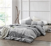 Machine Washable Cotton King Extra Large Gray Comforter with Stylish Textured Jersey Knit Band
