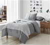 Soft Cotton Oversized Gray Twin Comforter with Light Gray Textured Band Made with Cozy Jersey Knit Bedding Material