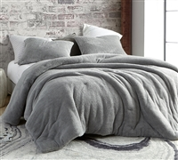 Soft Luxury Plush with Warm Thick Inner Fill Oversized King Comforter in Unique Silver Gray Color