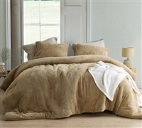 Oversized Twin XL Comforter in Neutral Easy to Match Taupe Shade and Warmest Cozy Plush Exterior