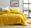 Extra Large King Comforter with Coziest Luxury Plush Exterior and Thick Polyester Fill in Unique Ochre Yellow Color