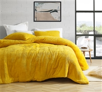 Most Comfortable Luxury Plush and Thick Polyester Inner Fill Extra Large Queen Comforter in Bold Yellow